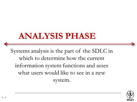 ANALYSIS PHASE Systems analysis is the part of the SDLC in which to determine how the current information system functions and asses what users would like.