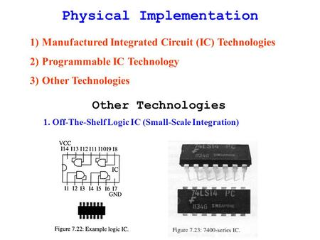 Physical Implementation 1)Manufactured Integrated Circuit (IC) Technologies 2)Programmable IC Technology 3)Other Technologies Other Technologies 1. Off-The-Shelf.