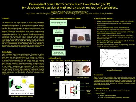 Development of an Electrochemical Micro Flow Reactor (EMFR) for electrocatalytic studies of methanol oxidation and fuel cell applications. Nallakkan Arvindan*,
