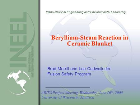 Idaho National Engineering and Environmental Laboratory Beryllium-Steam Reaction in Ceramic Blanket Brad Merrill and Lee Cadwallader Fusion Safety Program.