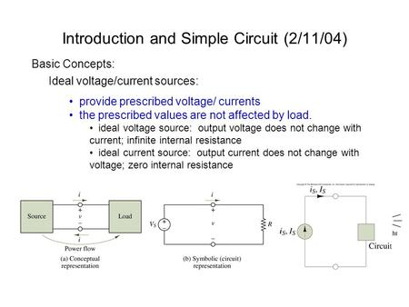 Introduction and Simple Circuit (2/11/04) Basic Concepts: Ideal voltage/current sources: provide prescribed voltage/ currents the prescribed values are.