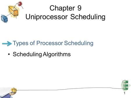 1 Chapter 9 Uniprocessor Scheduling Types of Processor Scheduling Scheduling Algorithms.