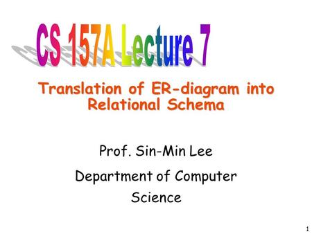 1 Translation of ER-diagram into Relational Schema Prof. Sin-Min Lee Department of Computer Science.