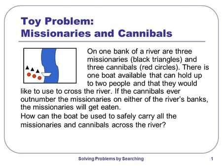 Toy Problem: Missionaries and Cannibals