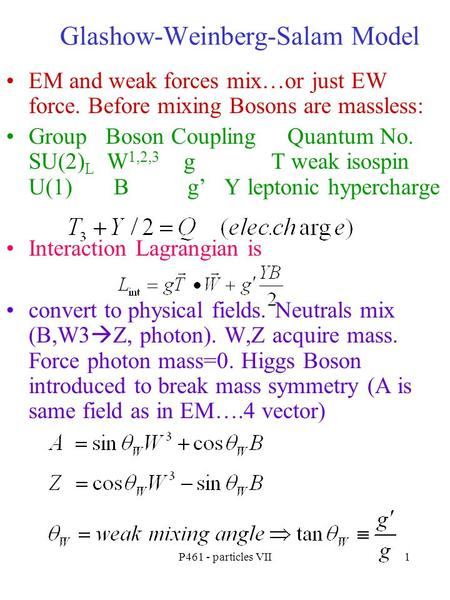 P461 - particles VII1 Glashow-Weinberg-Salam Model EM and weak forces mix…or just EW force. Before mixing Bosons are massless: Group Boson Coupling Quantum.