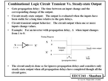 EECC341 - Shaaban #1 Lec # 8 Winter 2001 1-9-2002 Combinational Logic Circuit Transient Vs. Steady-state Output Gate propagation delay: The time between.