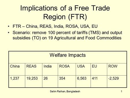 Selim Raihan, Bangladesh1 Implications of a Free Trade Region (FTR) FTR – China, REAS, India, ROSA, USA, EU Scenario: remove 100 percent of tariffs (TMS)