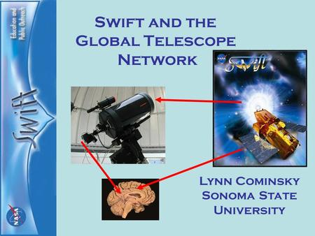 Swift and the Global Telescope Network Lynn Cominsky Sonoma State University.