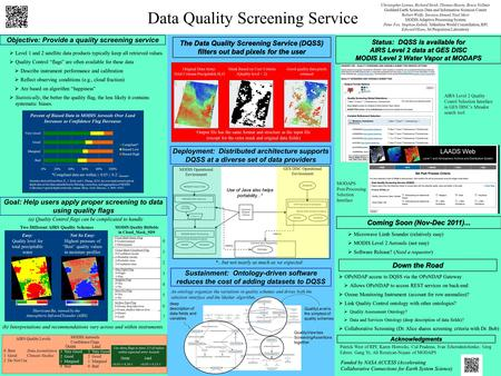 Data Quality Screening Service Christopher Lynnes, Richard Strub, Thomas Hearty, Bruce Vollmer Goddard Earth Sciences Data and Information Sciences Center.