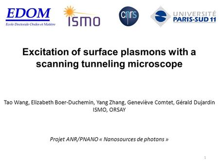 Excitation of surface plasmons with a scanning tunneling microscope Tao Wang, Elizabeth Boer-Duchemin, Yang Zhang, Geneviève Comtet, Gérald Dujardin ISMO,
