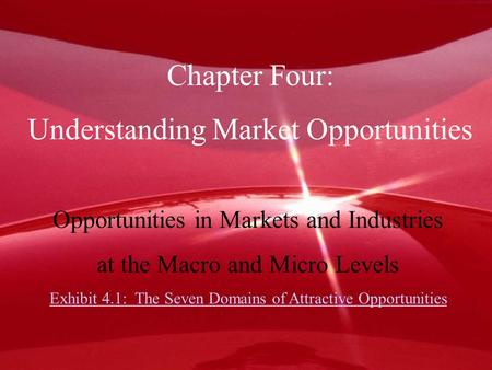 Chapter Four: Understanding Market Opportunities Opportunities in Markets and Industries at the Macro and Micro Levels Exhibit 4.1: The Seven Domains of.