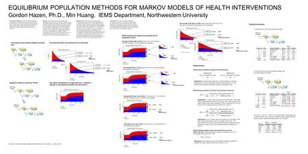 EQUILIBRIUM POPULATION METHODS FOR MARKOV MODELS OF HEALTH INTERVENTIONS Gordon Hazen, Ph.D., Min Huang. IEMS Department, Northwestern University Intervention.