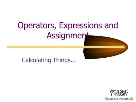Operators, Expressions and Assignment Calculating Things...