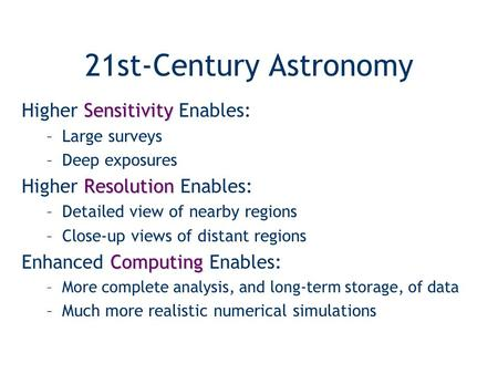 21st-Century Astronomy Sensitivity Higher Sensitivity Enables: –Large surveys –Deep exposures Resolution Higher Resolution Enables: –Detailed view of nearby.