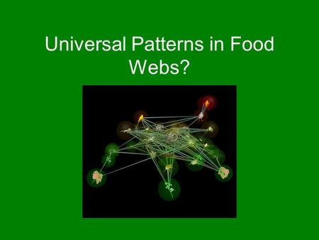 Universal Patterns in Food Webs? Benjamin Good. What is the evidence? Paper by Camacho et al. claims to demonstrate some traits common to all food web.