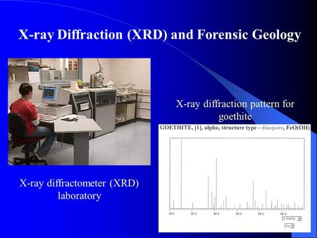 X-ray Diffraction (XRD) and Forensic Geology X-ray diffraction pattern for goethite X-ray diffractometer (XRD) laboratory.