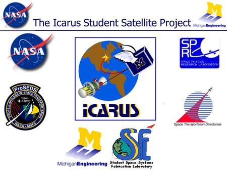 The Icarus Student Satellite Project. Overview The beginning of the project –Dr. Brian Gilchrist, Principal Investigator What the project is & student.