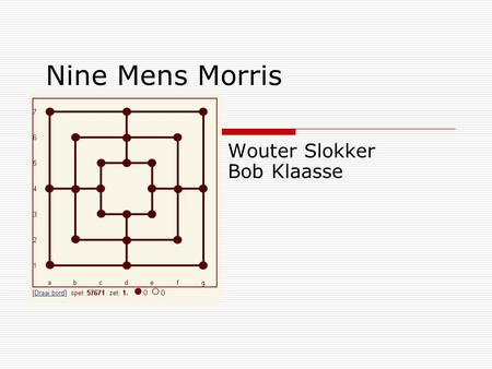 Nine Mens Morris Wouter Slokker Bob Klaasse. Fases of the game  1st fase: Placing the pieces - Each player should place 9 pieces in turns.  2nd fase: