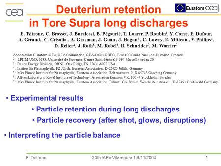 1E. Tsitrone20th IAEA Vilamoura 1-6/11/2004 Euratom Deuterium retention in Tore Supra long discharges Interpreting the particle balance Particle retention.