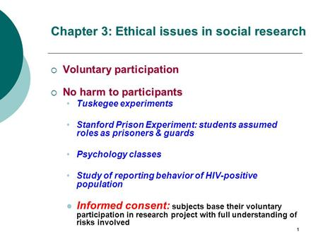 Chapter 3: Ethical issues in social research