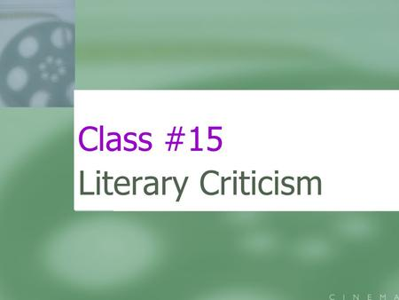 Class #15 Literary Criticism. Today's Menu I. Blade Runner II. White Noise III. Coda.