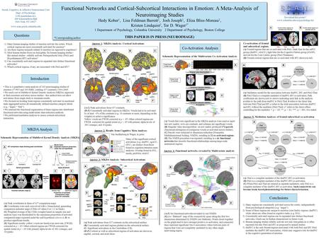 Functional Networks and Cortical-Subcortical Interactions in Emotion: A Meta-Analysis of Neuroimaging Studies Hedy Kober 1, Lisa Feldman Barrett 2, Josh.