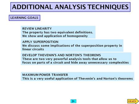 ADDITIONAL ANALYSIS TECHNIQUES LEARNING GOALS REVIEW LINEARITY The property has two equivalent definitions. We show and application of homogeneity APPLY.