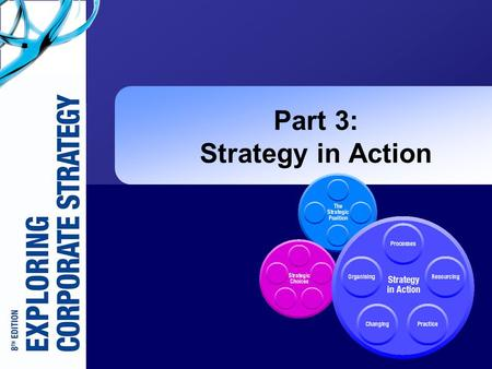 Part 3: Strategy in Action. Exploring Corporate Strategy 8e, © Pearson Education 2008 11-2 The Focus of Part 3: Strategy in Action (1)  How strategies.