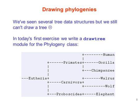 1 Drawing phylogenies We've seen several tree data structures but we still can't draw a tree  In today's first exercise we write a drawtree module for.