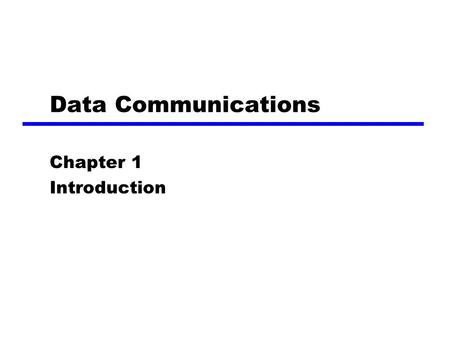 Data Communications Chapter 1 Introduction. 2 A Communications Model zSource ygenerates data to be transmitted zTransmitter yConverts data into transmittable.