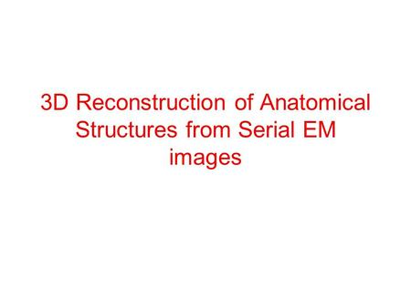 3D Reconstruction of Anatomical Structures from Serial EM images.