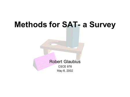 Methods for SAT- a Survey Robert Glaubius CSCE 976 May 6, 2002.