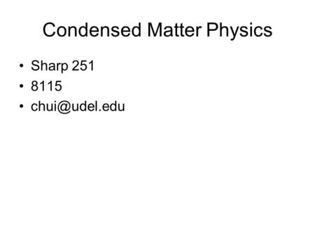 Condensed Matter Physics Sharp 251 8115