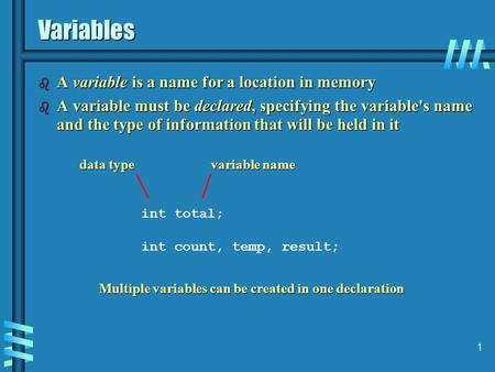 1 Variables b A variable is a name for a location in memory b A variable must be declared, specifying the variable's name and the type of information that.
