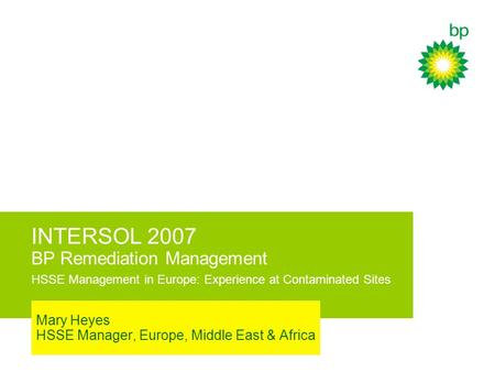 Mary Heyes HSSE Manager, Europe, Middle East & Africa