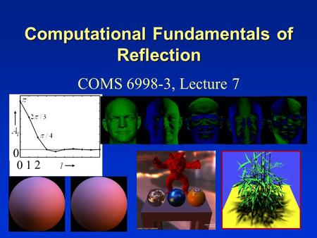 Computational Fundamentals of Reflection COMS 6998-3, Lecture 7 0 01 2.