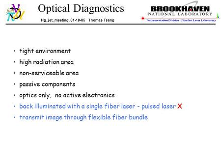 Optical Diagnostics Hg_jet_meeting, 01-18-05 Thomas Tsang tight environment high radiation area non-serviceable area passive components optics only, no.