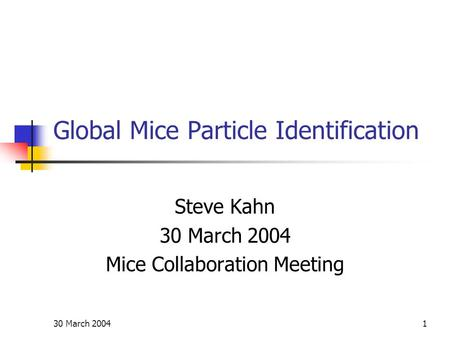 30 March 20041 Global Mice Particle Identification Steve Kahn 30 March 2004 Mice Collaboration Meeting.