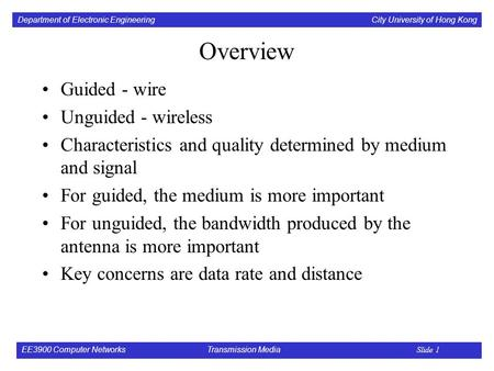 Department of Electronic Engineering City University of Hong Kong EE3900 Computer Networks Transmission Media Slide 1 Overview Guided - wire Unguided -