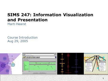 1 SIMS 247: Information Visualization and Presentation Marti Hearst Course Introduction Aug 29, 2005.
