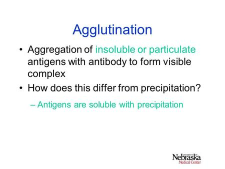 Agglutination Aggregation of insoluble or particulate antigens with antibody to form visible complex How does this differ from precipitation? –Antigens.