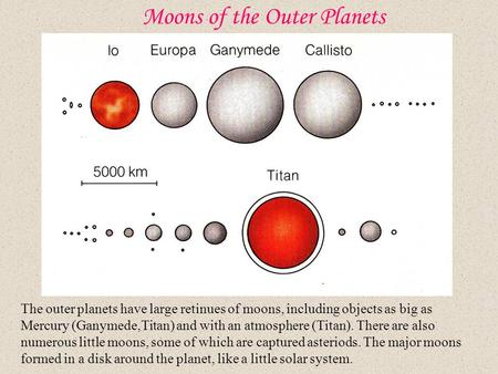 Moons of the Outer Planets The outer planets have large retinues of moons, including objects as big as Mercury (Ganymede,Titan) and with an atmosphere.