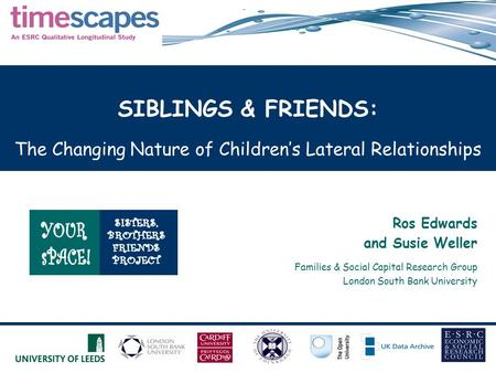SIBLINGS & FRIENDS: The Changing Nature of Children's Lateral Relationships Ros Edwards and Susie Weller Families & Social Capital Research Group London.