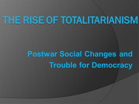 Postwar Social Changes and Trouble for Democracy.