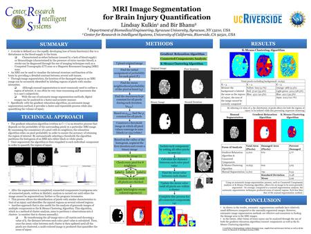 MRI Image Segmentation for Brain Injury Quantification Lindsay Kulkin 1 and Bir Bhanu 2 1 Department of Biomedical Engineering, Syracuse University, Syracuse,