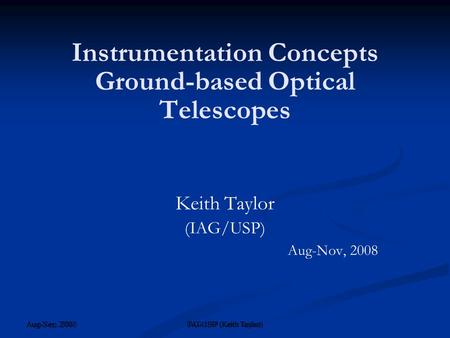 Instrumentation Concepts Ground-based Optical Telescopes
