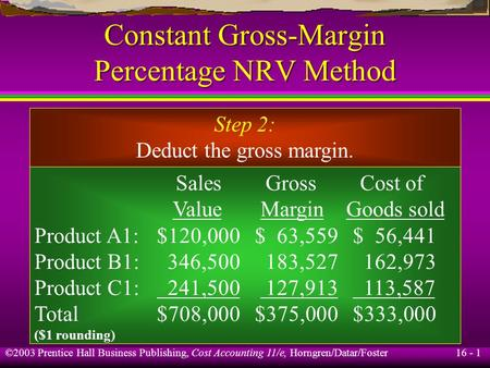 16 - 1 ©2003 Prentice Hall Business Publishing, Cost Accounting 11/e, Horngren/Datar/Foster Constant Gross-Margin Percentage NRV Method Step 2: Deduct.
