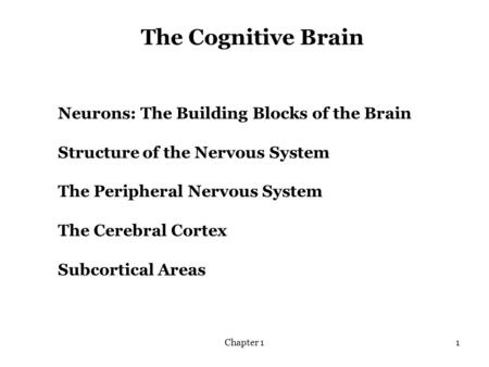 Chapter 11 The Cognitive Brain Neurons: The Building Blocks of the Brain Structure of the Nervous System The Peripheral Nervous System The Cerebral Cortex.