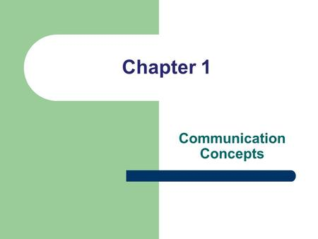 Chapter 1 Communication Concepts. Communication Defined What is communication? …the process of sending and receiving messages Shared understanding is.
