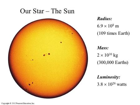 Copyright © 2012 Pearson Education, Inc. Radius: 6.9  10 8 m (109 times Earth) Mass: 2  10 30 kg (300,000 Earths) Luminosity: 3.8  10 26 watts Our Star.